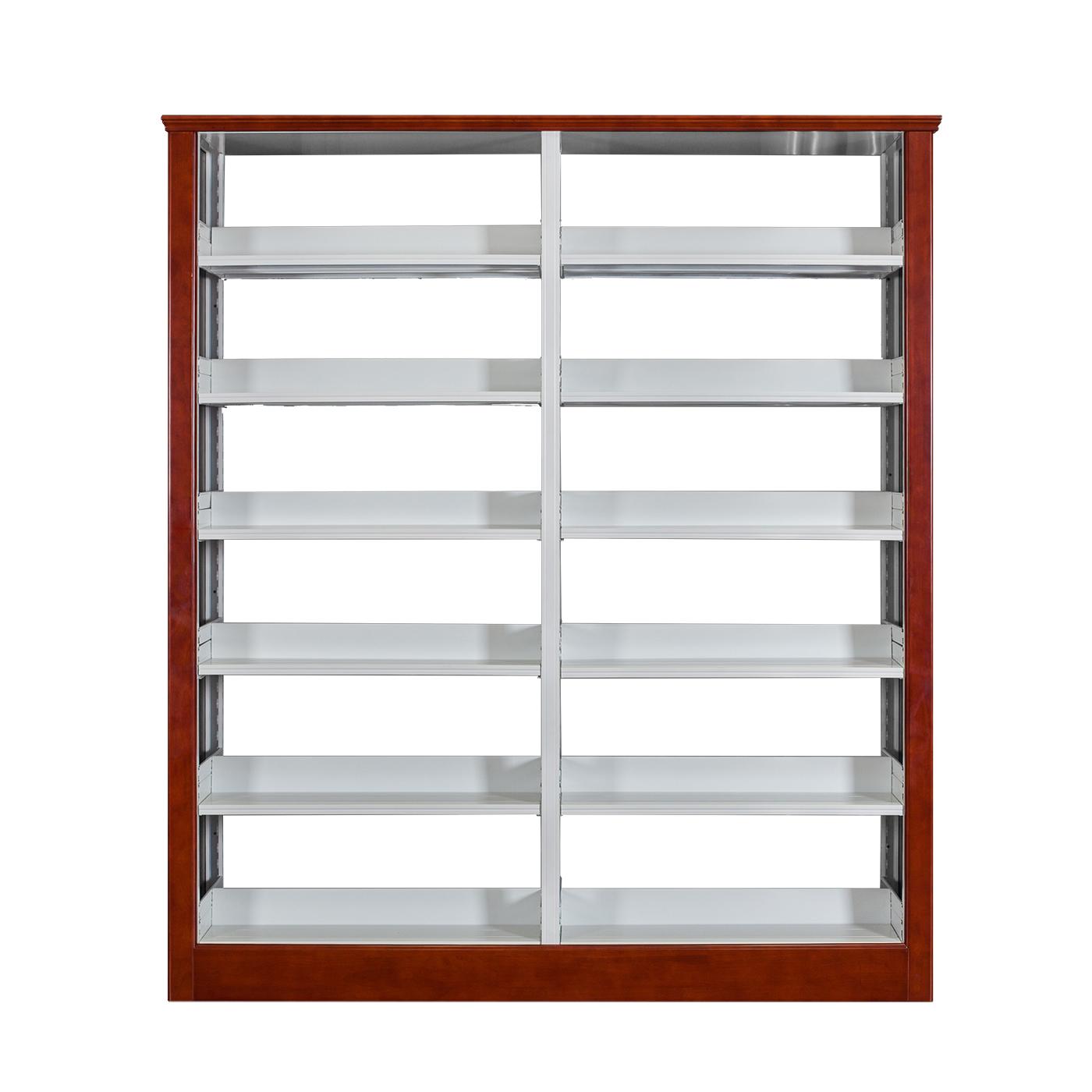 橡木护板双柱双面书架