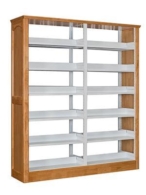 钢木双柱双面书架