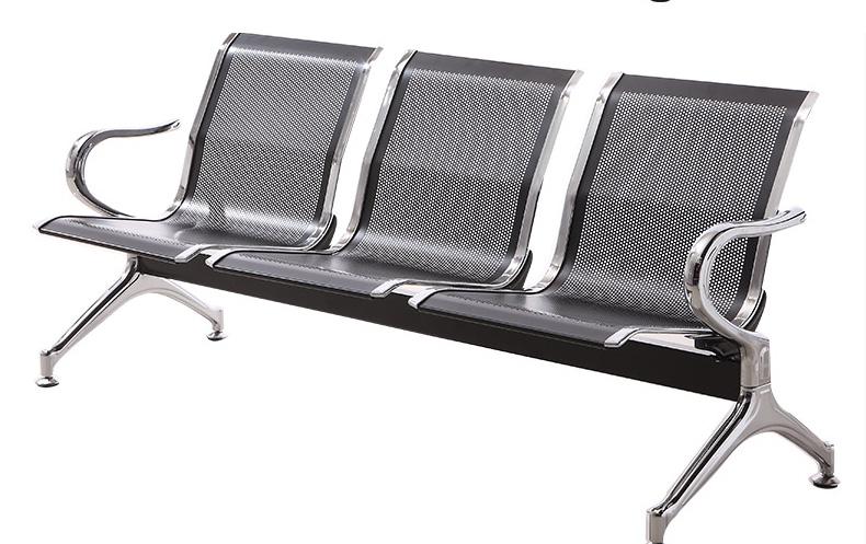 固峰银灰色三人等候椅