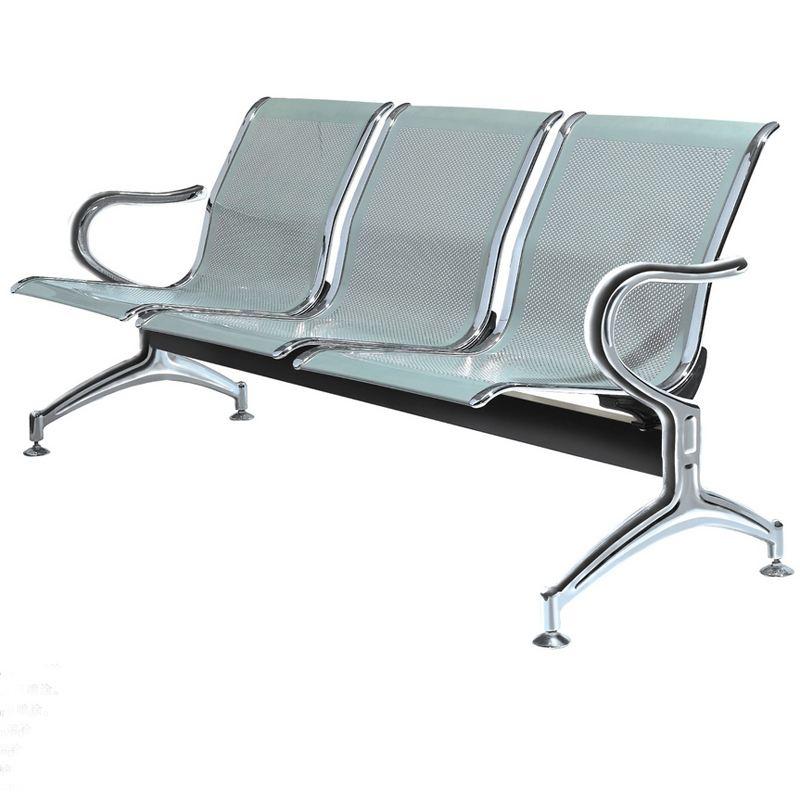 固峰银白色三人等候椅